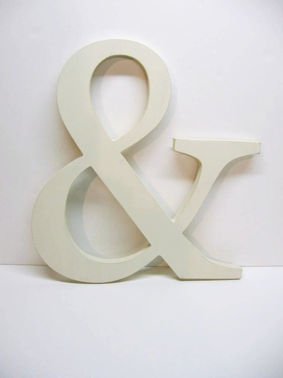 Wood ampersand sign 15 inches creamy off white wedding for Party wall letter template