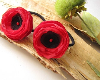 Ponytail holders with handmade fabric flowers, floral hair accessories, chiffon flowers, floral hair ties (set of 2 pcs)- RED POPPIES