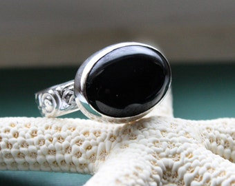 Onyx  Floral Pattern Ring in Sterling Made to Order