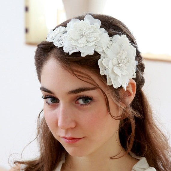 Lace wedding headband, bridal headpiece, flower headband, wedding gift, flower girl - style 237
