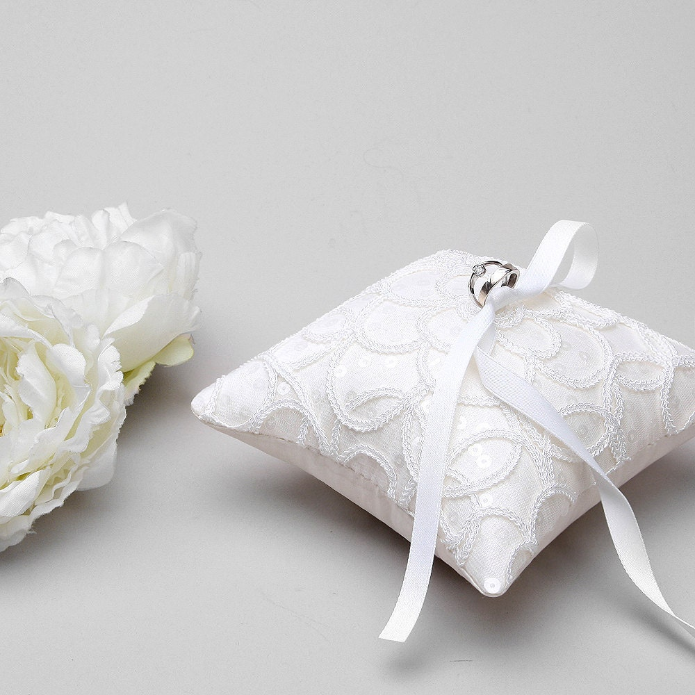 White Lace Ring Pillow Bridal Ring Bearer Pillow Ring Holder