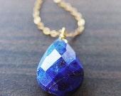 ON SALE Navy Lapis Gold Necklace
