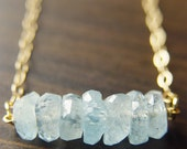 SALE Aquamarine Nugget Necklace - 14k Gold Fill