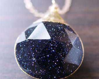 Midnight Goldstone Star Necklace