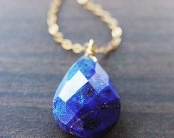 SALE Navy Lapis Gold Necklace