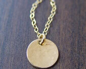 Hammered Round Disc Necklace 14k Gold Filled