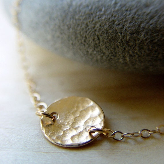 Hammered Disc Necklace 14k Gold Delicate Circle