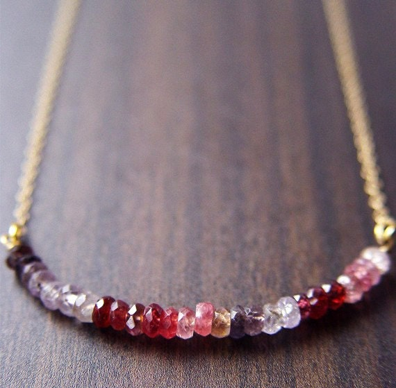 SALE Multi Sapphire Rondelle Necklace 14K Gold Filled