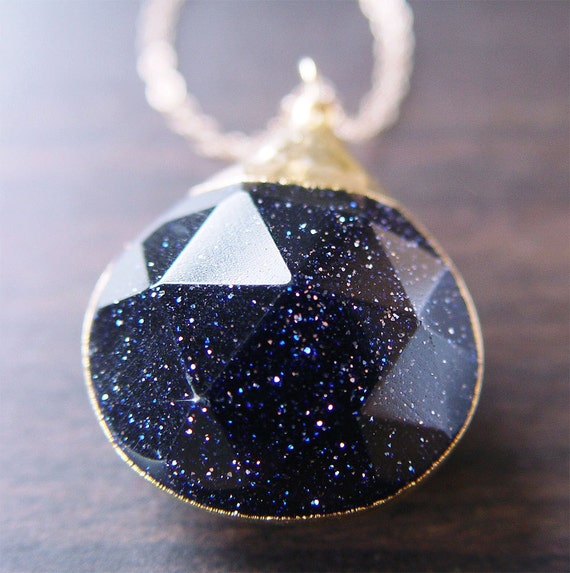 SALE Midnight Goldstone Star Necklace