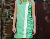Green Mod Mini Dress, Cotton Sleeveless Dress with Lace