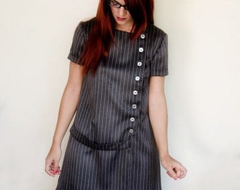 Grey Dress Pinstripe Asymmetrical with short Sleeves Vintage Inspired