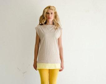 Color block Dress, Jersey Mini Dress, Cotton Summer Tunic, Beige Yellow Minimal Casual Dress