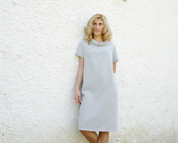Shift Dress in Grey Blue Short Sleeves Knot Collar