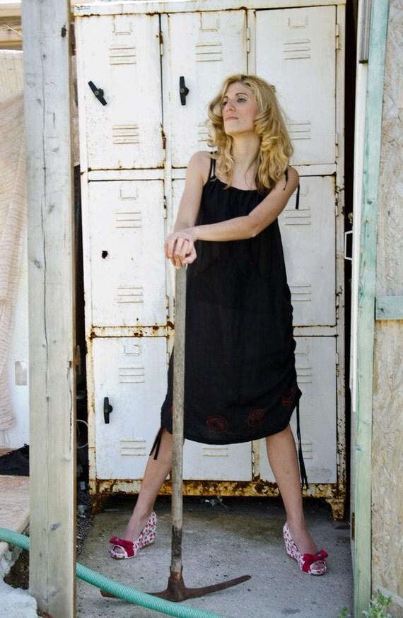 Boho Minimal Linen Sundress in Black, Summer Maxi Dress, available in plus sizes