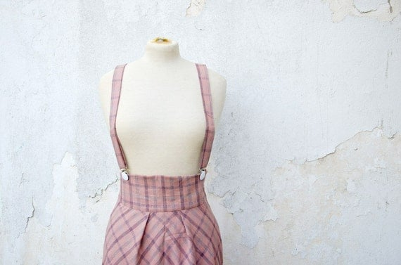 SAMPLE SALE High Waisted Skirt in Dusty Pink Plaid with Removable Suspenders, Jumper Skirt