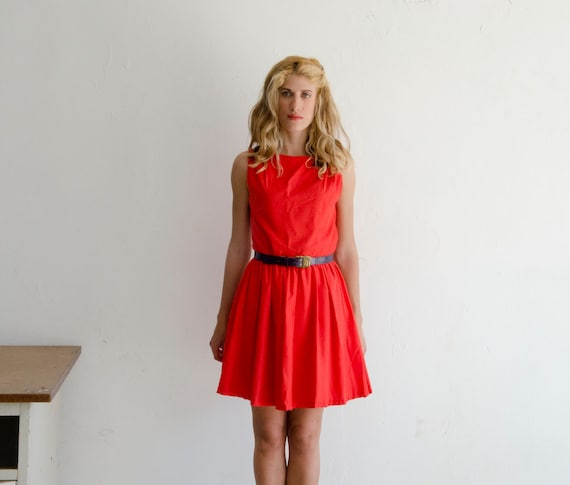 50% Off Sample Sale Red Orange Retro Dress, 50s Mad Men Dress Knee Length