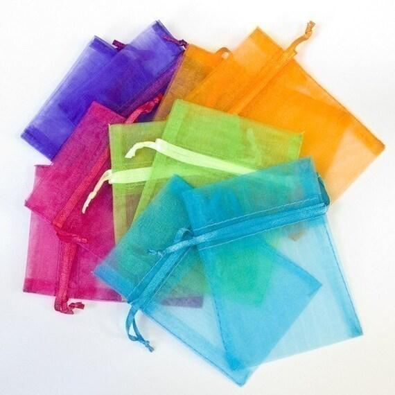 100 3x4 Organza Bags, multi color jewel tones, orange, hot pink, purple, bright green, aqua