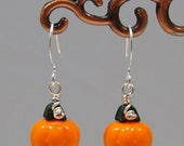Pumpkin Holiday Halloween Fall Glass Wire Earrings