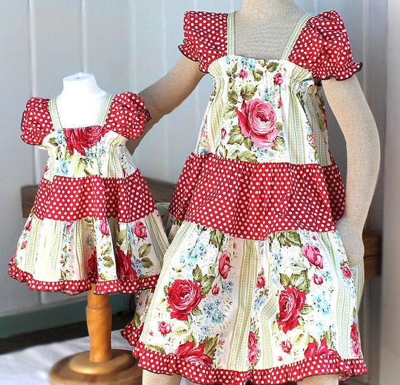 Matching Sister Dresses Matching Sister Easter Dresses 2014 Polka Dot Red Pink Rose Peasant Dress Big Sister Little Sister Childrens Clothes