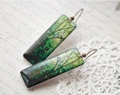 Leaf green earrings - Bright green branch earrings - Long Green earrings (E034)