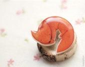 Fox brooch - Cute animal brooch - Autumn jewelry - Animal jewelry (BH010)