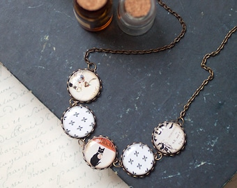Black Cat necklace - Black and Orange necklace (BN012)