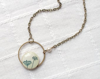 Natural History necklace - Ivory necklace - Beige necklace - Botanical necklace - Rustic necklace - Nature necklace - Floral necklace (N029)