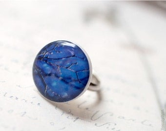 Sky Blue Ring - Adjustable ring - Winter jewelry (R017)