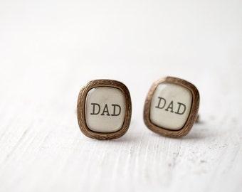 Dad cufflinks - Fathers day gift - Gift for dad - Father of the bride cuff links - Father cufflinks - Rustic Wedding cufflinks (C021)