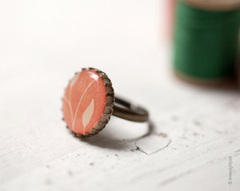 Coral Ring - Cocktail Ring - Floral Ring - Peach Ring - Peach jewelry - Pink ring - Adjustable ring - Bright ring - Pastel ring - (R046)