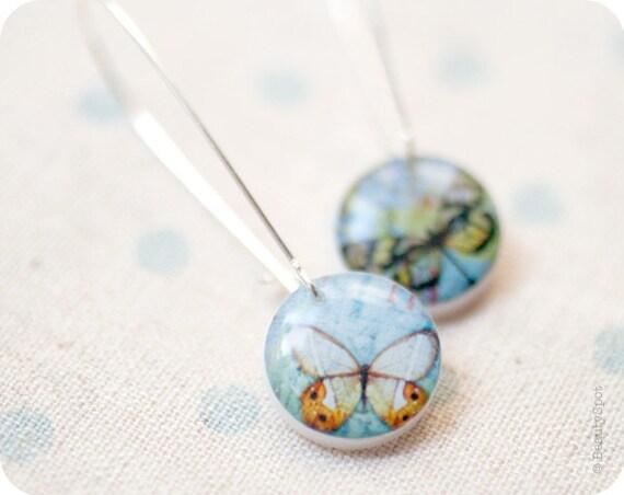 Blue Butterfly earrings - Sky blue earrings - Butterfly jewelry - Dragonfly earrings (E005)