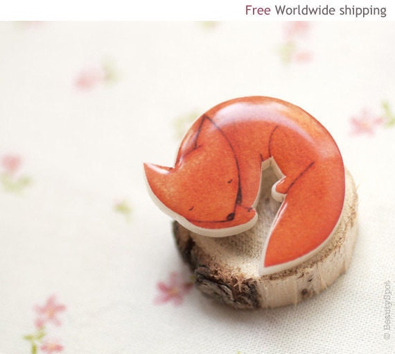 Fox brooch - Cute animal brooch - Autumn jewelry - Animal jewelry (BH010)