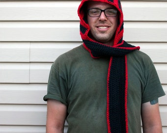 SALE*Red and black striped crochet scoodie, scoofie, hooded scarf