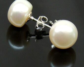 Pearls Earrings Post White Freshwater Pearls Sterling Silver Bridal Wedding Earrings