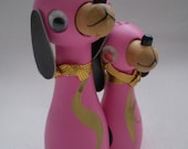 Vintage Wooden Magnetic Pink Dog Salt And Pepper Shakers