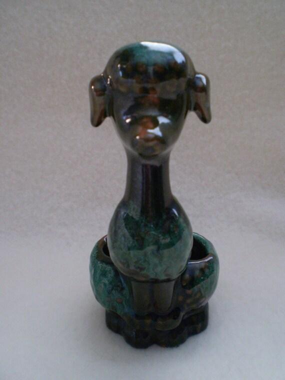 SALE Vintage LIPSTICK HOLDER Blue Mountain Pottery Poodle Dog Figurine