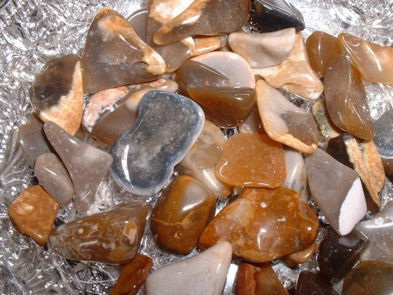 Newfoundland Labrador Flint Tumbled and Polished Natural Gemstones Toffee and Cream Crafts Jewelry Rock Art
