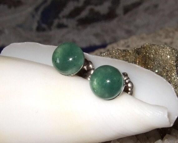 Dark Green Aventurine Stud Earrings Titanium Post and Clutch 6mm Handmade Tranquility Hypo-Allergenic