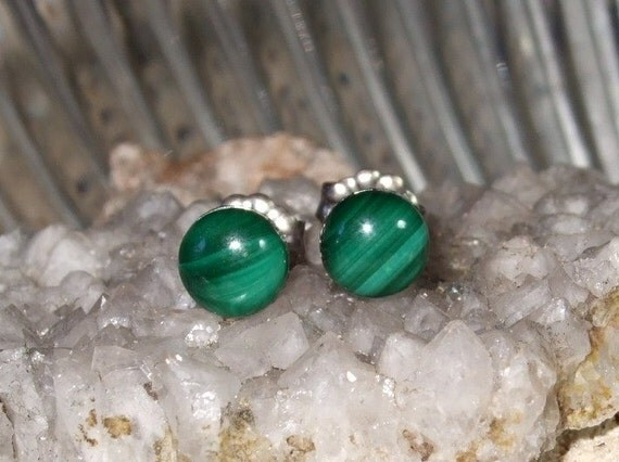 Green Malachite 6mm Stud Post Earrings Earings Titanium Ear Post and Clutch Hypo Allergenic Round
