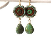 Tribal Beaded Turquoise Drop Earrings, Micro Mosaic Earrings
