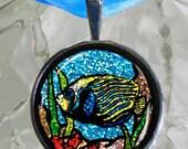 SALE-Glitter Striped Blue Angel Fish Pendant