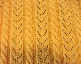 Yellow Cables and Lace Baby Blanket