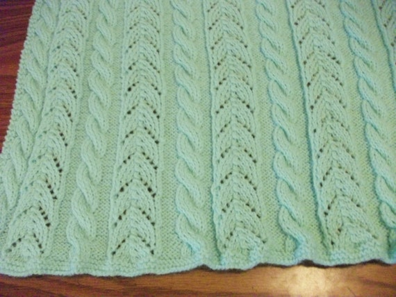 Pastel Green Cables and Lace Baby Blanket