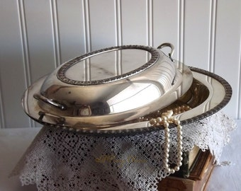 Vintage Wm Rogers Silver Plate Covered Casserole Serving Dish by avintageobsession on etsy
