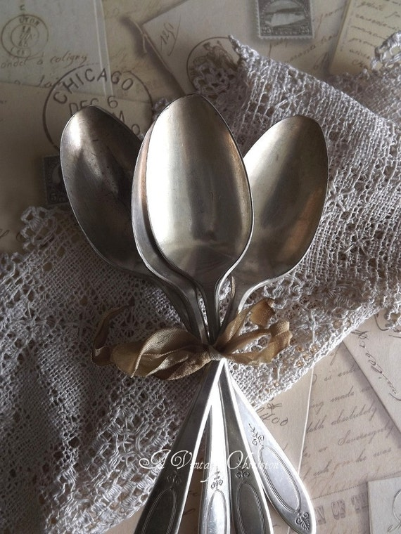 Vintage  Silverplate Serving Spoons Flatware by avintageobsession on etsy