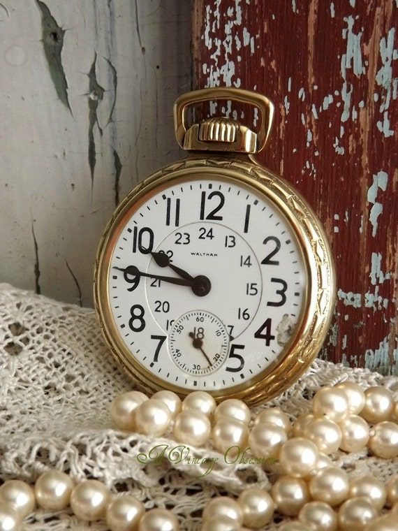 Antique Waltham Vanguard 23 Jewels Pocket Watch by avintageobsession on etsy...20% Discount