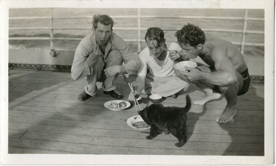 1940s Sailors with Chopsticks Share Dinner with Black Cat - snapshot 257