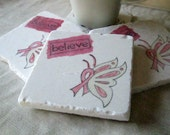 Breast Cancer Awareness Coasters, Set of 4, Ready to Ship