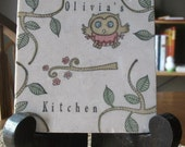 Personalized Kitchen Trivet - Opal the Owl - Woodland Home Decor