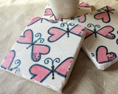 Heart Butterfly Tile Coasters, Set of 4